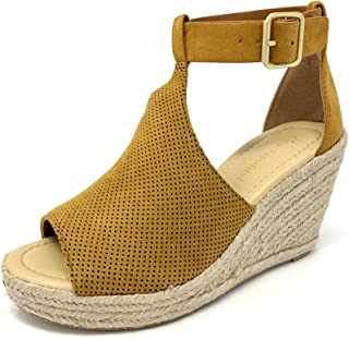 Women's Peep Toe Perforated Ankle Strap Espadrilles