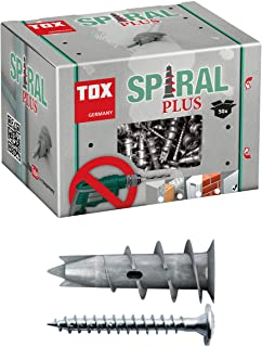TOX Gipsplaatpluggen Spiral Plus 37-2 met lenskopschroef 4,5 x 35 mm, voor eenlaags en dubbelgeplante gipsplaten