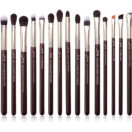 Jessup Professional Eye Makeup Brushes Set Natural-Synthetic 15pcs for Eyeshadow Blending Concealer Eyeliner Eyebrow, Zinfandel T284