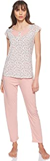 JOANNA Women's Floral Pattern Pajama Set, X-Large, Light Pink