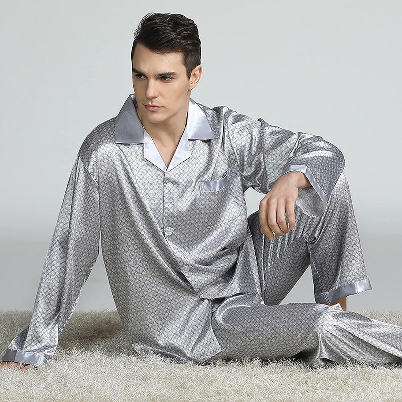 FMOGG Men's Pajamas Set Autumn Winter Elastic Waist Men Sleepwear Silk Men's Long Sleeve Nightwear Print Top + Long Pant Homewear Set