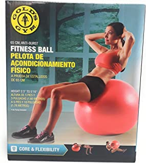 Gold's Gym Anti Burst Gym Yoga Fitness Ball With Pump - 65 cm With Pump, Red