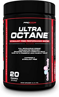 Ultra Octane V3 - *Limited Time Deal* Caffeine Free, Clinically Dosed Non Stimulant Pre Workout & Nitric Oxide Powder *Pick Flavor* 420 Grams (20 Servings Cotton Candy (V3))