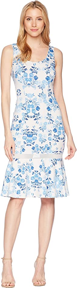 Sleeveless Printed Scuba Midi with Mesh Inset