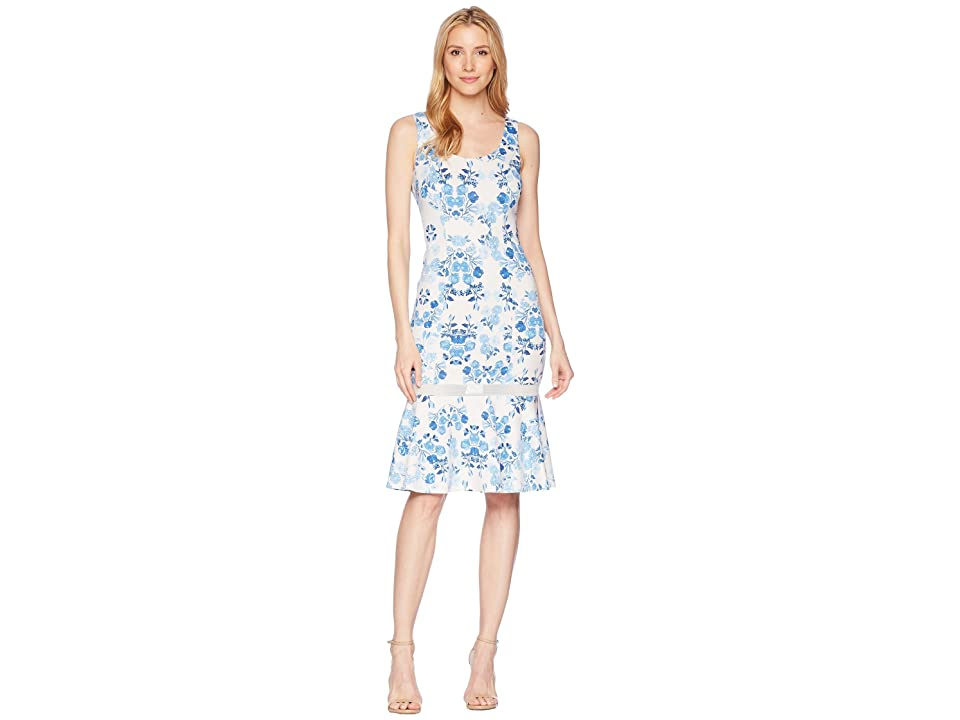 Donna Morgan Sleeveless Printed Scuba Midi with Mesh Inset (Ivory/Blue Multi) Women