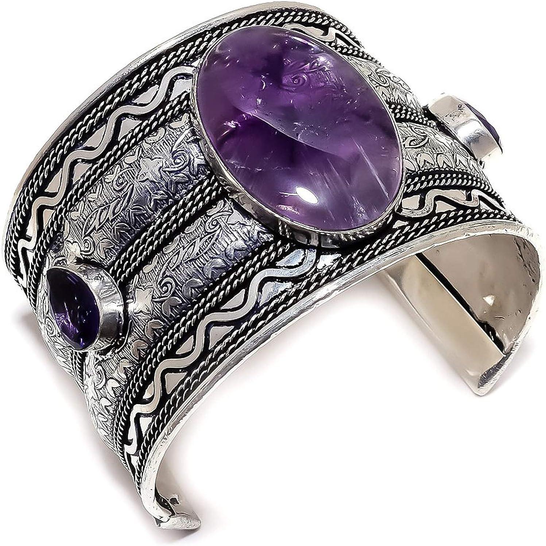 African Amethyst Gemstone Dedication Ethnic Silver Bracele Cuff Gifts 925Sterling
