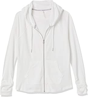 Women's Premium Performance Ruched Long Sleeve Zip Up Hoodie (Standard and Plus), White, Large