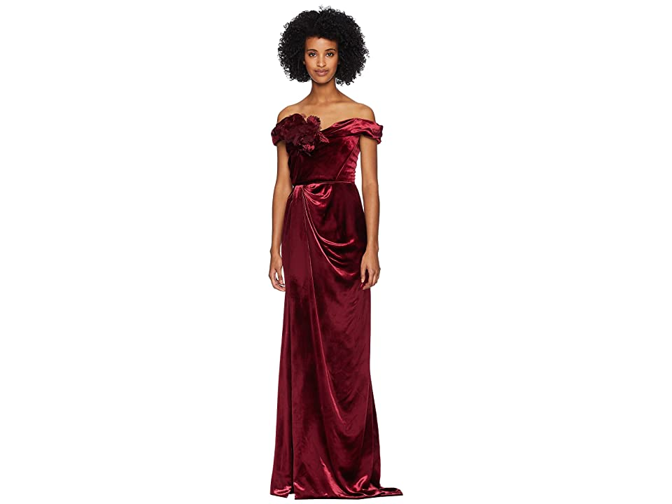 Marchesa Off Shoulder Velvet Column Gown w/ Floral Corset (Bordeaux) Women