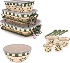 Temptations 20-Piece Old World Ceramic Bakeware Set- Green