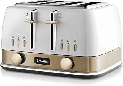 Breville VTT942 New York Collection 4 Slice Toaster with High-Lift and Wide Slots, White and Gold