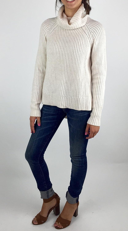 Bar III Side Slit Turtle Neck HiLow Sweater Size L Oatmeal Heather