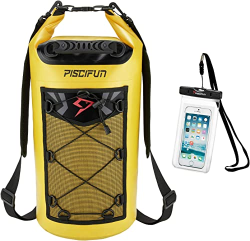 Piscifun Waterproof Dry Bag Backpack 5L 10L 20L 30L 40L Floating Dry Backpack with Waterproof Phone Case for Water Sp...