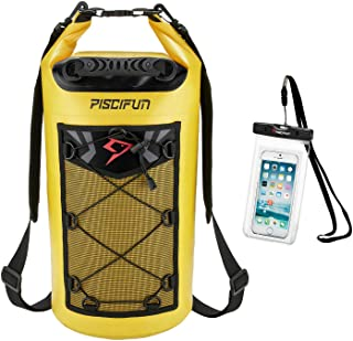 Piscifun Waterproof Dry Bag Backpack 10L 20L 30L 40L Floating Dry Backpack with Waterproof Phone Case for Water Sports - F...