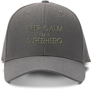 cdb76a36914 Speedy Pros Keep Calm I m A Superhero Embroidery Embroidered Adjustable Hat  Baseball Cap Gray