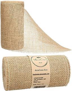 AmaCasa Eco Tischläufer Jute 30cm breit, 10m Rolle | gestärkter Jutestreifen mit kompostierbarem Etikett | Tischband für wundervolle Dekorationen in vielen Farben Natur - Braun, 20cm/10m