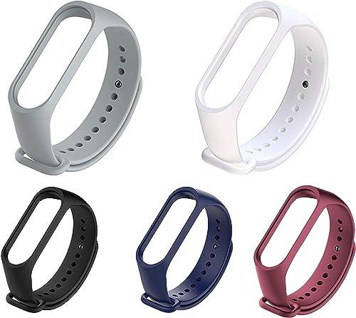 Liddu Wristband Band Straps for Xiaomi Original Mi 3 & Mi 4 Bands (Combo Pack, Pack of 5) (Grey, White, Black, Navy B...