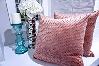 Ekka Moderna Velvet Throw Pillows - Dusty Rose Throw Pillow Covers ONLY - Set of 2 18x18 inches for Couch, Sofa, Bed