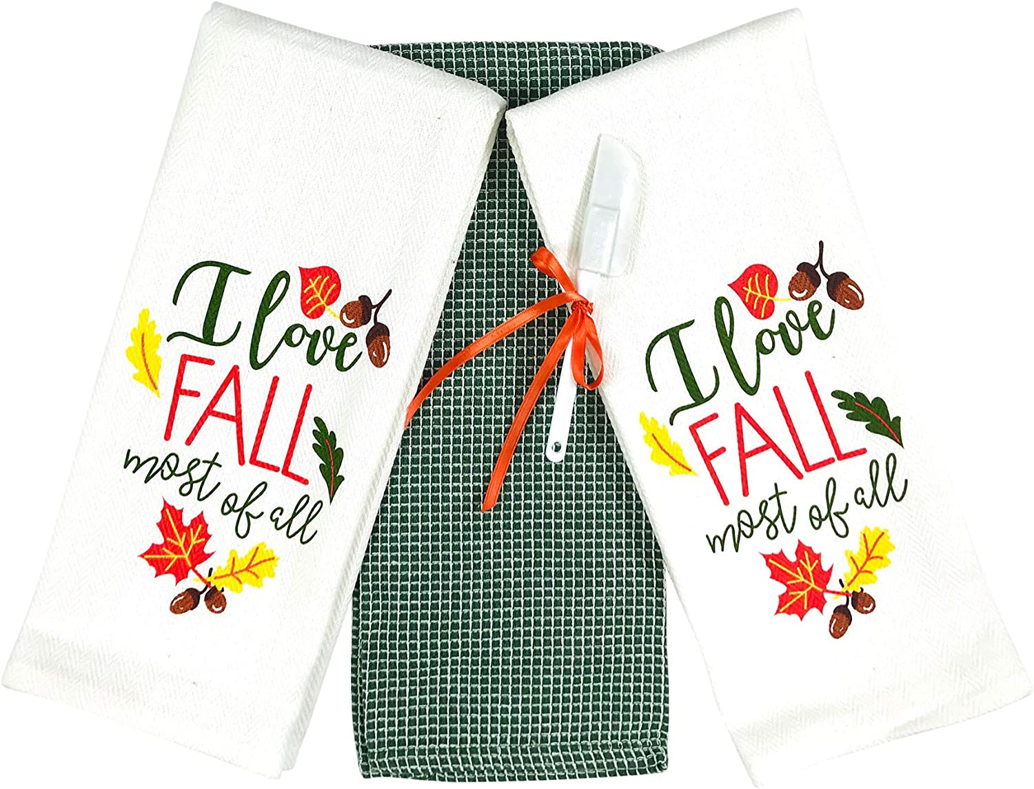 Fall Autumn Kitchen Towels Set 3 Pc Colorful Love Fall Most Of All With Leaves And Acorns Forest Green White Home Kitchen