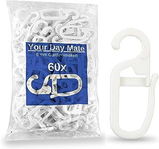 60 x Crochets à Rideaux avec œillets de 6 mm, Utilisables pour Anneaux à Rideaux Jusqu'à Ø 6 mm, pour Rails et Tringles à ...