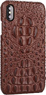 iPhone X/XS Genuine Leather (Crocodile Head) Case Cow Cover Real Leather Alligator Skin Texture[Ultra Slim Handmade] New Slim Design Back Cover for iPhone X/XS 5.8inch (Brown, XS/X)