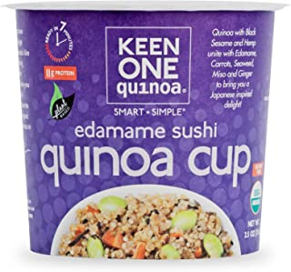 Keen One Quinoa Edamame Sushi - Delicious Royal Organic Quinoa with a Full Japanese Inspired Flavor {Pack of 6 Cups}