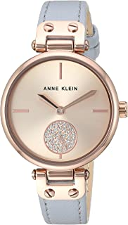 Anne Klein Women's Swarovski Crystal Accented Leather Strap Watch