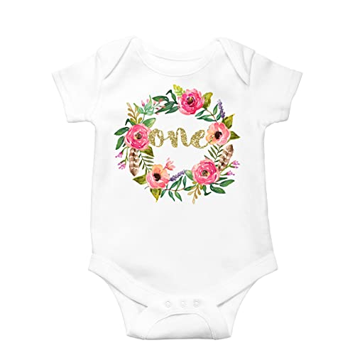 621765906124 Girls 1st Birthday Bodysuit Watercolor Floral Boho 1st Birthday Girl Outfit