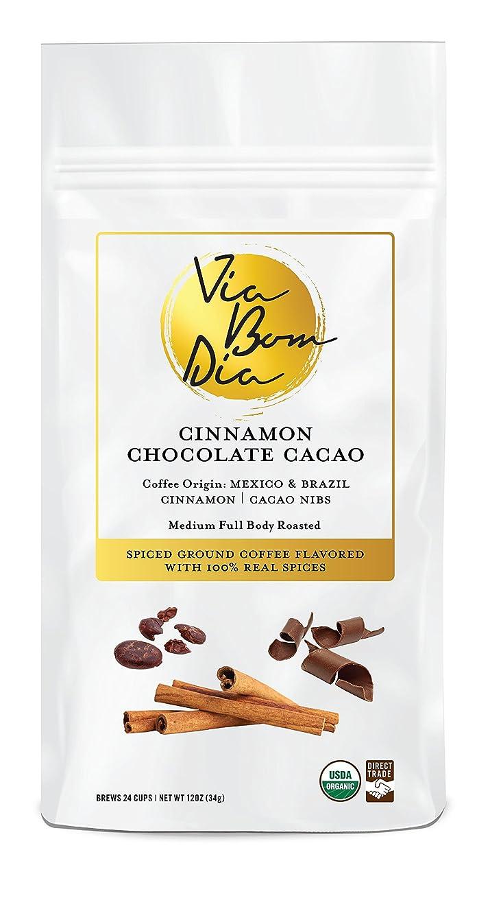 100% Naturally Flavored Coffee, Cinnamon Chocolate, Ground Coffee + Real Cacao Nibs & Cinnamon (no artificial flavors!), 12oz
