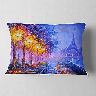 Designart View of Paris Eiffel Tower' Landscape Printed Throw Lumbar Cushion Pillow Cover for Living Room, sofa 12 in. x 2...