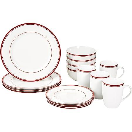 Amazon Basics Service de table 16pièces pour 4personnes Motif rayures Rouge