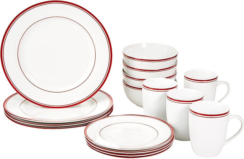Amazon basics - servizio di piatti  16 pezzi , in porcellana ,  per 4 persone CX01BG(22)B
