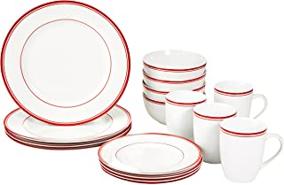 AmazonBasics 16-Piece Cafe Stripe Kitchen Dinnerware Set, Plates, Bowls, Mugs, Service for 4, Red