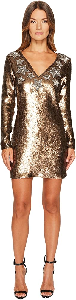 Long Sleeve Sequin and Stars Sequin Dress