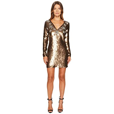 Just Cavalli Long Sleeve Sequin and Stars Sequin Dress (Gold) Women