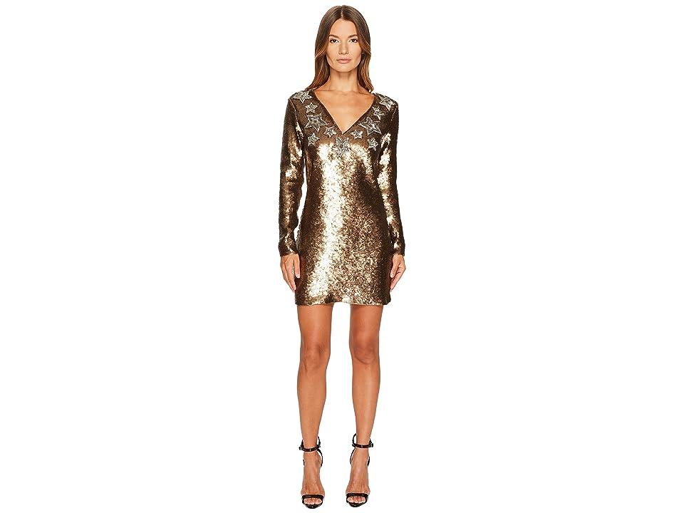 Just Cavalli Long Sleeve Sequin and Stars Sequin Dress (Gold) Women