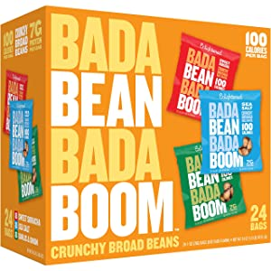 Bada Bean Bada Boom - Plant-Based Protein, Gluten Free, Vegan, Crunchy Roasted Broad (Fava) Bean Snacks, 100 Calories per Serving, Savory Box, 1 oz, 24 Pack