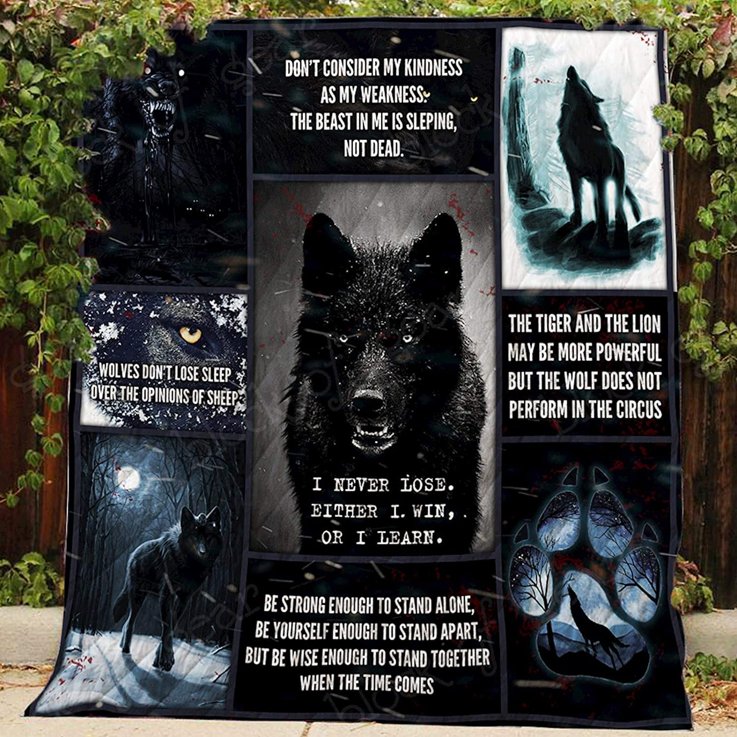 Black Wolf Quilt P366, Queen All-Season Quilts Comforters with Reversible Cotton King Queen Twin Size - Best Decorative Quilts-Unique Quilted for Gifts