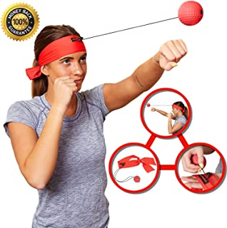 Boxing Reflex Ball Headband - Workout Gym Equipment for Speed and Reaction Training - Improvement with Hand Eye Coordination / Punching Accuracy / Softer Than Tennis Balls- Designed by Womo Sports