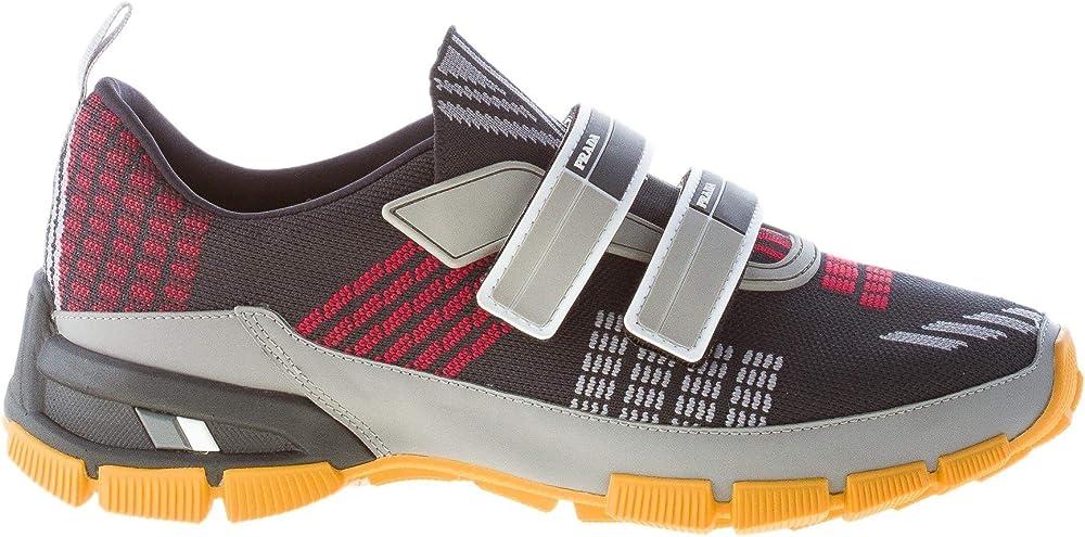 Prada uomo sneakers nylon tech  in tessuto nero multicolore con chiusura strappo taglia 40,5 eu 4O32191OUGF0002