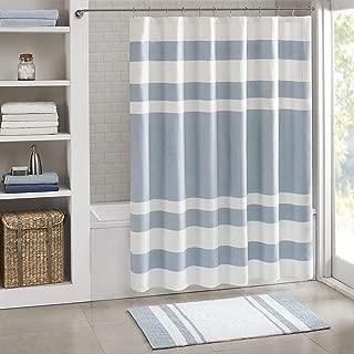 Madison Park Spa Waffle Bathroom Shower Pieced Solid Microfiber Fabric with 3M Treatment Modern Bath Curtains, Standard 72X72 Inches, Blue