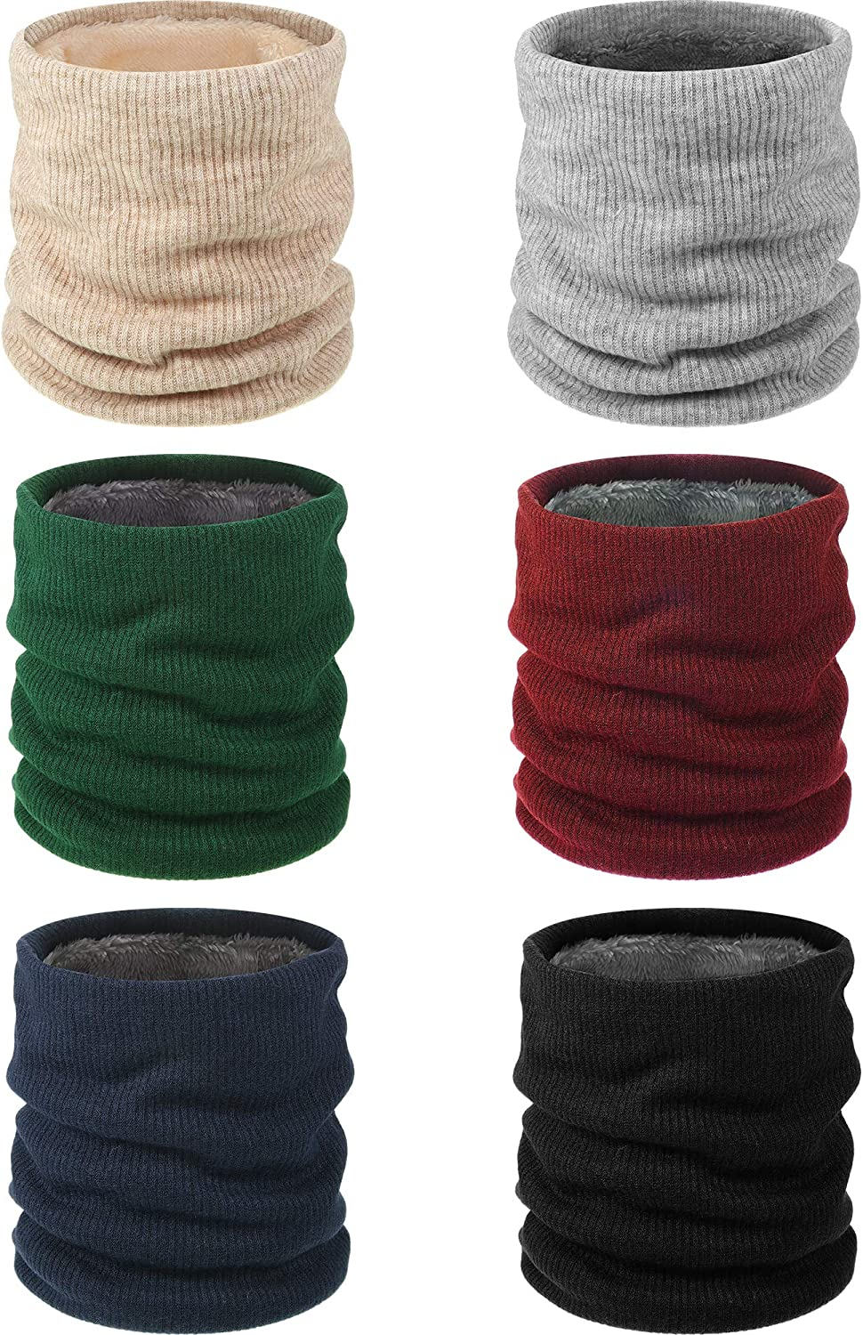 6 Pieces Winter Knit Neck Warmer Gaiter Thick Double-Layer Windproof Face Covering Scarf Knit Circle Infinity Loop Winter Neck Gaiter Set for Men Women