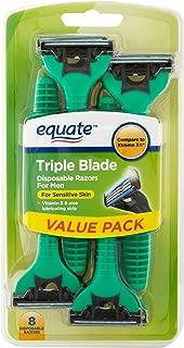 Equate Triple Blade Disposable Razors for Men, 8 Ct
