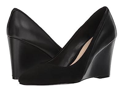 Nine West Daday Dress Wedge (Black/Black Isa Suede/Soft Calf) Women