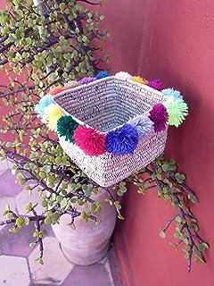 Scatola rettangolare di rafia colorata, cestino colorato, cestino di stoccaggio marocchino artigianale, cestino intrecciat...