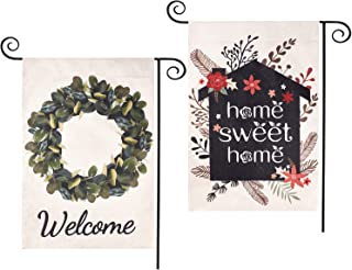 CDLong 2 Pack Spring Garden Flag - Welcome Leaves Wreath & Home Sweet Home Yard Flag - Vertical Double Sided 12.5 x 18 Inc...