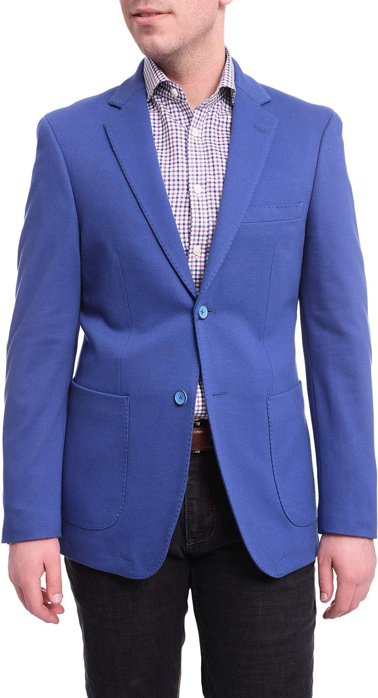 Raphael Classic Fit Blue Textured Cotton Blend Blazer with Patch Pockets