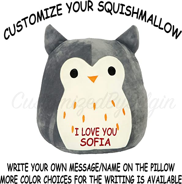 Squishmallow Customized Original Kellytoy Hoot The Grey Owl 8 Create Your Own Super Soft Plush Toy Stuffed Animal Pet Pillow Holiday Easter Birthday Gift
