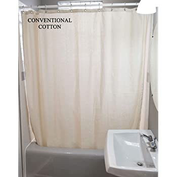 "Bean Products Cotton Shower Curtain - 70"" x 74""  - Natural - Also White, Hemp, Linen, Organic Cotton - Tub, Bath, Stall Sizes - Made in USA"