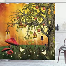 Ambesonne Fantasy House Decor Collection, Wonderland Forest with Fairies Butterflies Elves and Apple Tree Magical Universe , Polyester Fabric Bathroom Shower Curtain, 75 Inches Long, Multi