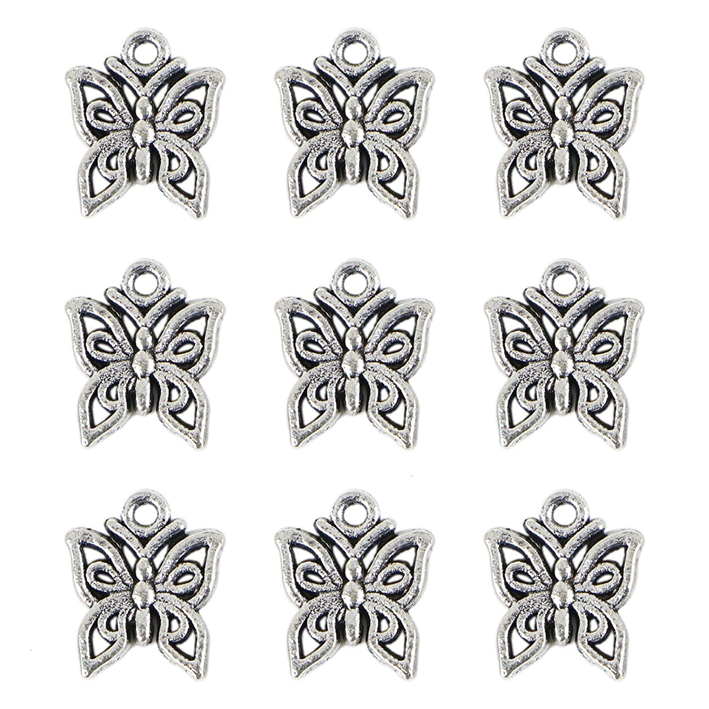 Monrocco 200PCS Charm Pendant Butterfly Tibetan Metal Beads Silver Color for Jewelry Making Bracelet(Sliver)